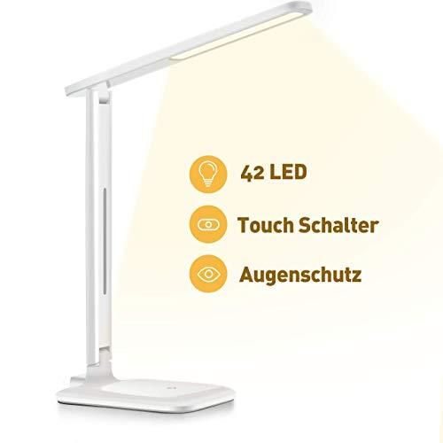 VICTSING LED Schreibtischlampe, LED Dimmbare Tischleuchte 3 Farb und 3 Helligkeitsstufen Augenfreundliche Nachttischlampe,Leselicht ideal für Leser, Kinder, Büro,Weiß