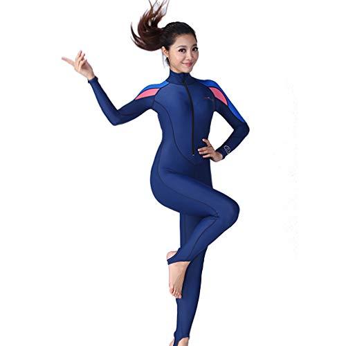 AIni Damen Neoprenanzug,Tauchanzüge Multi Funktioneller Sonnenschutz Badeanzug Mit Langen ÄrmelnSport Wetsuit Schwimmen Surfanzug Surfen Tauchen Schnorcheln(XL,Rosa)