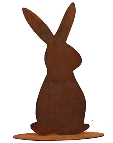 Rostikal Gartendeko Figur Osterhase 25 cm hoch Rost Deko Frühling Osterdeko Edelrost