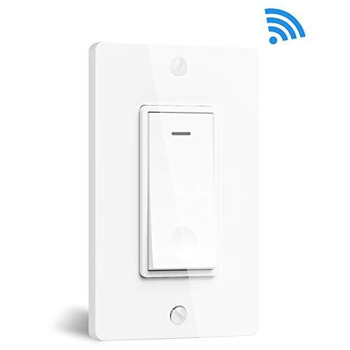Smart Lichtschalter, ZHENREN WiFi Lichtschalter Einpolig Kompatibel mit Alexa, Google Assistant und IFTTT, Smart Wandschalter mit Fernbedienung und Timer, Kein Hub erforderlich