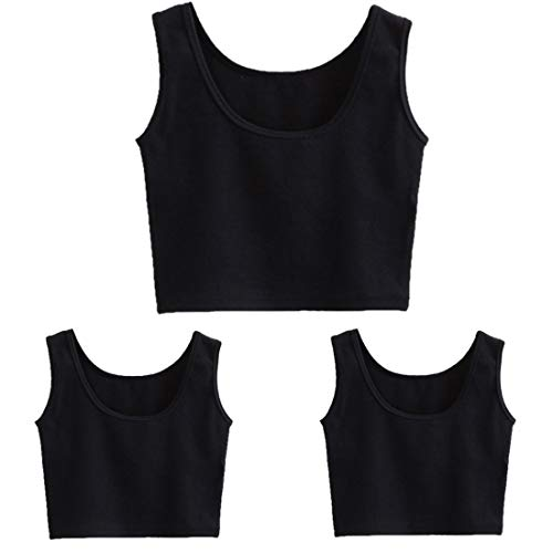 tank teens HZH Short Yoga Dance Athletic Tank Crop Tops Shirts for Women or Teens(3 Pack)