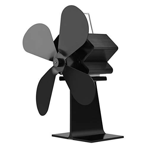 Ventilateur de poêle à chaleur à 4 pales Brûleur à bois Ecofan Ventilateur de foyer noir silencieux Distribution de chaleur efficace (COULEUR: blanc)