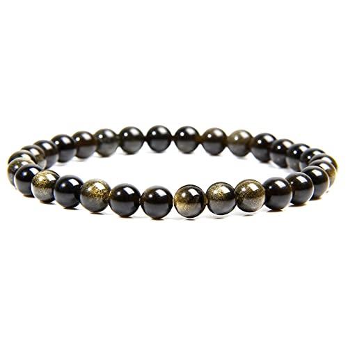 Pulsera de obsidiana de oro natural, joyería de moda para hombres, pulsera de cuentas de piedra redonda pulida de 6 Mm para mujeres, parejas, longitud 23Cm