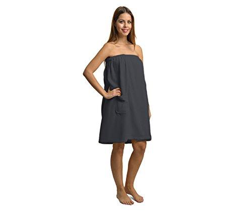 Damen Saunakilt 100% Baumwolle grau Größe 75 x 85 - 145 cm
