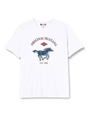 MUSTANG Herren Logo Tee T-Shirt, Weiß (2045), XXL