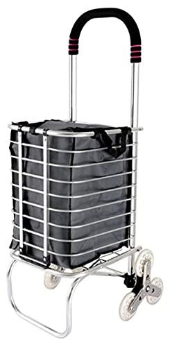 ZHIYAN Home Shopping Trolley, Oxford Paño Compras a Prueba de Agua Fácil de Guardar Carrito de Escalada portátil con plegamiento (Color : Black, Size : 30x32x92cm)