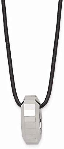 NC83 Collar de cordón de cuero pulido de tungsteno 18 pulgadas