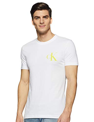 Calvin Klein Instit Back Pop Logo Slim Tee T-Shirt, Bianco (Bright White Yaf), Medium Uomo