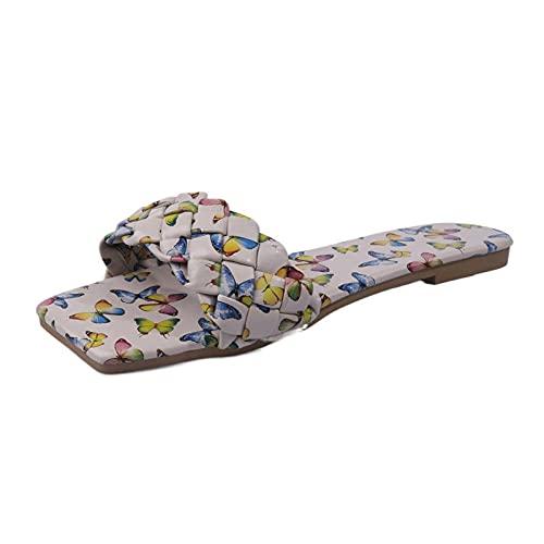 MDCGL Suaves Zapatilla Sandalias Planas de Playa con Flores y Punta Cuadrada para Mujer,cómodos toboganes de Piscina Casuales para Interiores y Exteriores Beige EU37