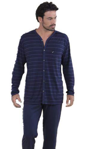 MASSANA - Pijama Manga Larga Verano Abierto (P151319-W03) - Azul, XXL