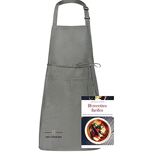 The cooking Tablier de Cuisine Gris +2 Ebooks Tabliers Etanche Barbecue Jardinage avec Poches Réglable Anti Tâches Homme et Femme Cadeaux Fête Mére Pére Familial Restaurant Barbecue Serveuse