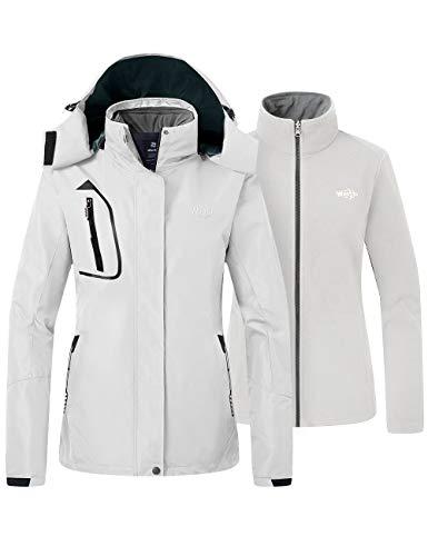 Wantdo Women's Hooded Ski Jacket Outdoor Warm Fleece Parka Off White XX-Large