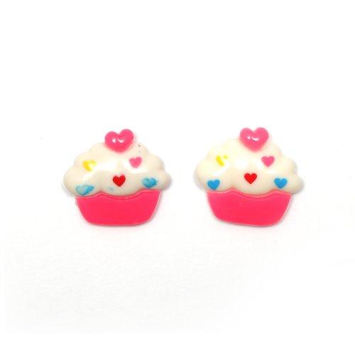 Idin Orecchini a clip - Cupcake bianco e rosa (ca. 19 x 17 mm)