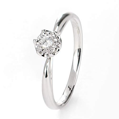 TIANRAO Anillo de Compromiso de Boda de 18 Quilates de Diamantes con Incrustaciones de Oro Blanco de 18Q Anillo de Compromiso,N1/2