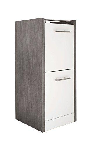 Schildmeyer Unterschrank 133072 Trient, 38 x 35 x 84 cm, weiß glanz / esche grau Dekor