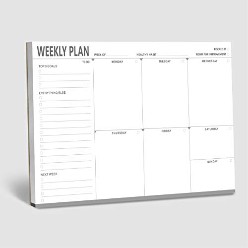 """Weekly Planner Desktop List Note Pad To Do List with Magnet Mountings for Fridge Locker (90 Sheets 9"""" x 6"""")"""