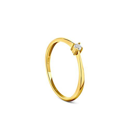 Miore Anello Donna Solitario Anello di Fidanzamento Diamante taglio brillante Ct 0.05 Oro Bianco 9 Kt / 375 (10)