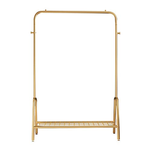Grade one Heavy Duty Garment Rack Clothes Rack with Top Rod Metal Retail Display Clothing Rack,Iron Shoes Bags Clothes Organizer Storage Shelves (Gold)