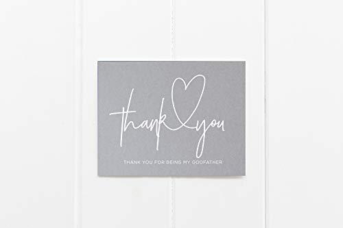 Tarjetas de felicitación con sobre, gris y blanco Tarjeta de agradecimiento por ser mi padrino, propuesta de madrina, bautizo, regalo de bautizo, padrino, padrino, padrino y regalo de día fest