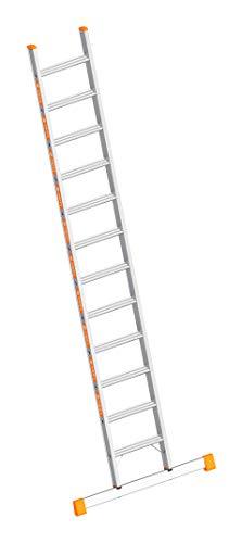 Layher 1042012 Stufenanlegeleiter Topic 12, Aluminiumleiter mit 80 mm Breiten Stufen, Länge 3.15 m, 2 Stück