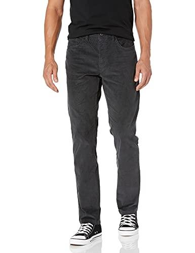 Marque Amazon – Goodthreads Pantalon en velours côtelé extensible et confortable avec 5poches, coupe droite, pour homme, Gris (Grey Gre), 40W x 34L