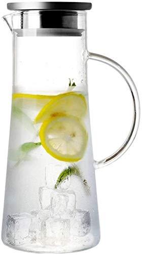 Tetera Tetera Taza 1,5 L / litro jarra jarro de agua con tapa Juice borosilicato tetera de vidrio caldera del agua de la resistencia térmica del envase Pot Glass Jug Adecuado for Hot Coffee (Single Po