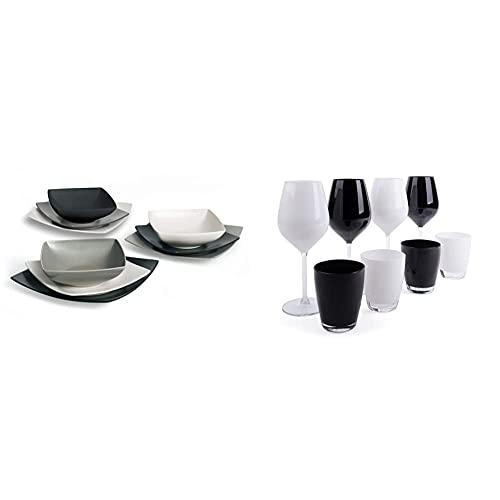 Excelsa Eclipse Servizio Piatti Quadrati 18 Pezzi, Ceramica, Bianco, Nero e Grigio & Color Wine Set Calici e Bicchieri, Vetro, Bianco e Nero, 8 Unità