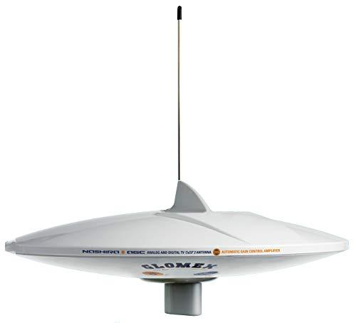 Glomex NASHIRA V9112 AGCU / DAB Antenne für Rundfunkempfang TV RADIO DAB mit auto Empfindlichkeitseinstellung AGD LTE Filter mit 360° Empfang omnidirektional für Boot Schiff Yacht Camping Wohnmobil