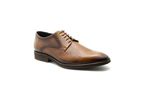 Zapatos De Hombre Derby Ultra Ligero Grabado Bisonte Piel Ternera Duque (26, Miel)