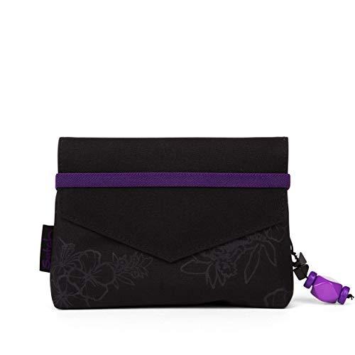 Satch Beauty Wallet – Kosmetiktasche, Zwei Fächer, mit Spiegel - Purple Hibiscus, Schwarz