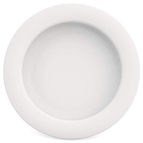 Ornamin Teller mit Kipp-Trick Ø 20 cm weiß | Spezialteller mit Randerhöhung für selbstständiges Essen | Esshilfe, Melamin, Anti-Rutsch Teller, Tellerranderhöhung