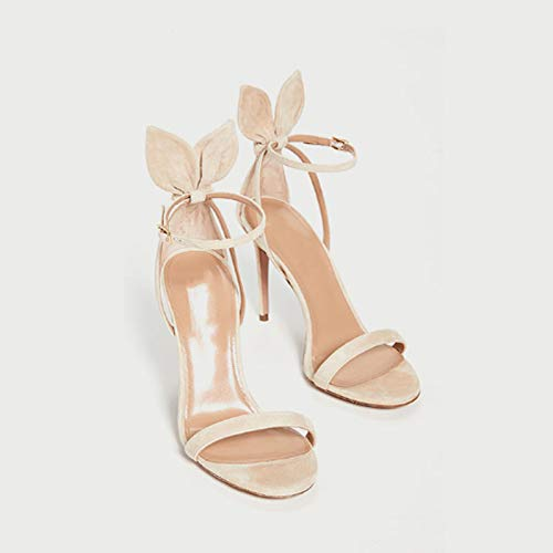 JKYQ Strap Ferse Stöckel Nette und einfache Schuhe High-Heeled öffnen Zehe-Riemchensandaletten Sandale Kaninchen-Ohr-Schuhe,Beige,40