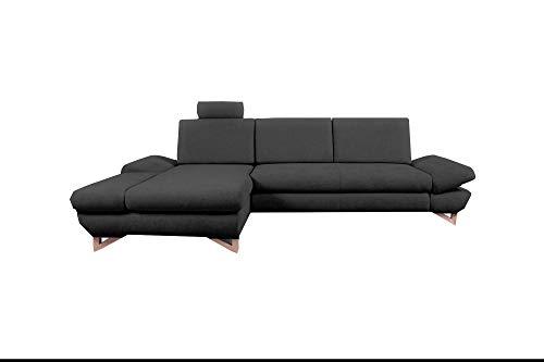 mb-moebel Ecksofa mit Schlaffunktion Eckcouch mit Bettkasten Sofa Couch L-Form Polsterecke Merida (Anthrazit, Ecksofa Links)