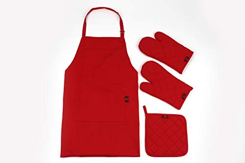HD Kitchen Red Oven Mitts, Potholder and Apron Set 100% Cotton, Heat Resistant Oven Gloves for Cooking and Grilling, Cute Red Apron with Pocket for Women/Men and a potholder; 4 Piece Value Pack.