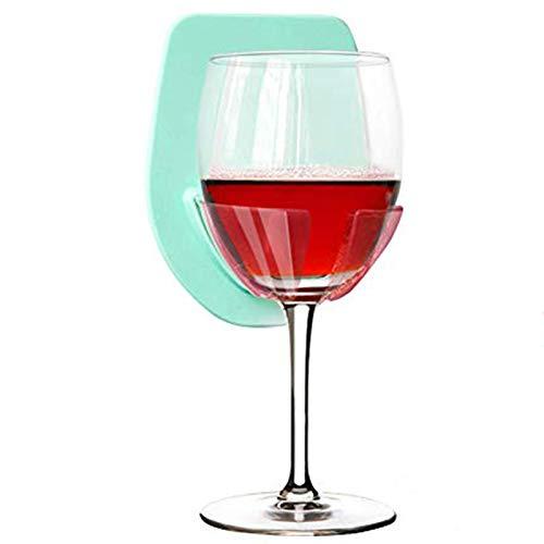 Gotega - Soporte para botellas de vino, de silicona, portátil, con ventosa para vino, ducha y baño (azul)