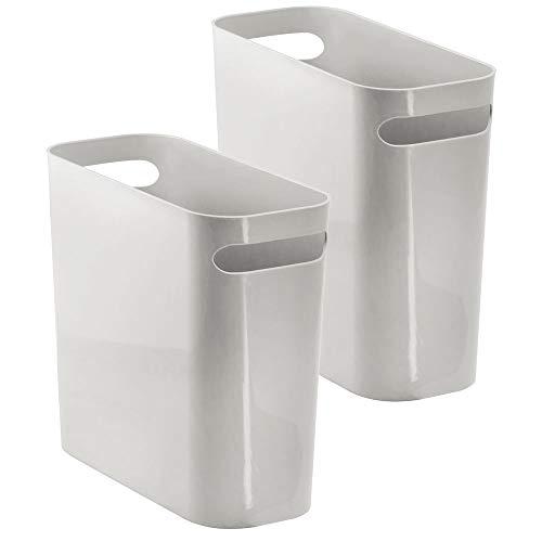 mDesign Mülleimer mit Griffen - ideal als Abfalleimer oder als einfacher Papierkorb - robuster Kunststoff - für Küche, Bad und Büro - modernes Design - hellgrau - 2er Set