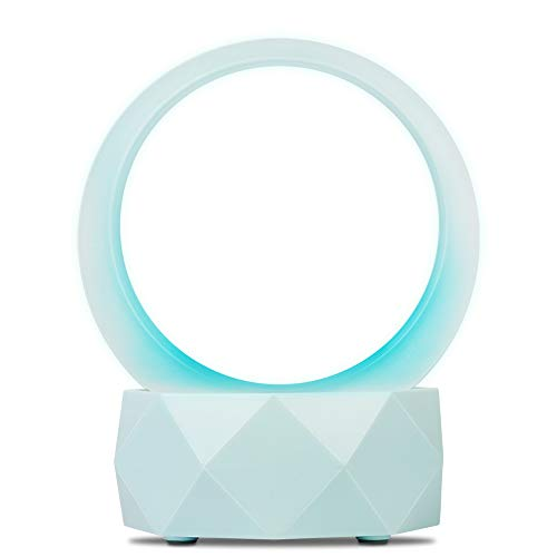 Purplecrystal altavoz portátil Bluetooth 5.0 y luz nocturna, 2 en 1 (luz nocturna, mini altavoz portátil), con 7 luces de colores, Sonido envolvente estéreo de 360 grados, muy adecuado para decoración de oficina y hogar (Azul)