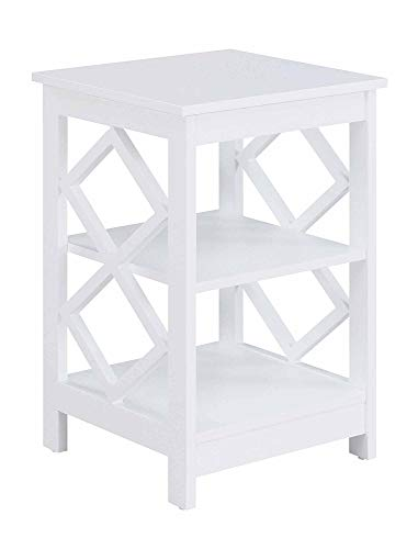 Convenience Concepts Diamond - Mesa auxiliar, color blanco