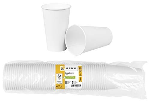 HEKU 30913: 50 Pappbecher, weiß, 0,4l, Frischfaser mit Beschichtung,