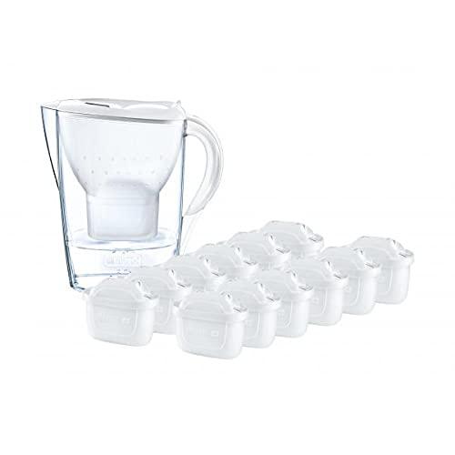 BRITA Kit Marella con 13 filtros MAXTRA+ - Jarra filtrante para Agua, Capacidad 2,4 L, Blanca, 13 filtros MAXTRA+ incluidos