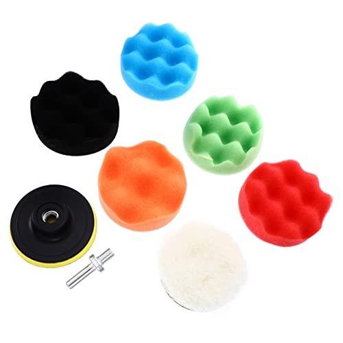 Angoily 8pcs Drill Buffing Sponge Pads Car Foam Woolen Polishing Pads Kit Tool for Car Buffer Polisher Sanding Waxing Sealing Washing Cleaning Furniture