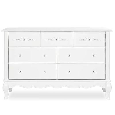 Evolur Aurora 7 Drawer Double Dresser, Frost