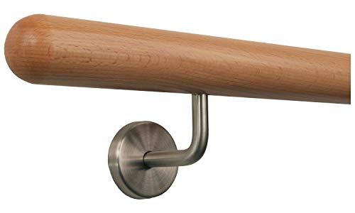 Buche Handlauf Treppen Geländer Handläufer 30-500 cm aus einem Stück mit Halter Stützen Träger und bearbeiteten Enden / 200 cm Länge mit 3 Haltern und Endstück: Halbkugel gefräst