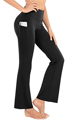 LifeSky Bootcut Yoga Pants for Women with Pockets, High Waist Casual Flare Pants, Soft Workout Bootleg Leggings, L