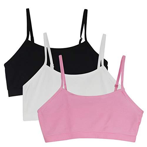 YINI - Vuelta al cole. Top sujetador ajustable con tirantes en los hombros, para niñas y chicas, 3 unidades Rosa 3 piezas (negro/blanco/rosa). M