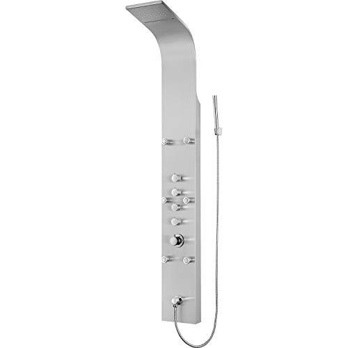 """Blue Ocean 64.5"""" Stainless Steel SPS8879 Thermostatic Shower Panel with Rainfall Shower Head, Body Nozzles, and Handheld Shower Head"""