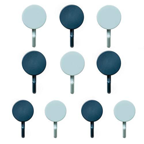Ganchos adhesivos resistentes para pared, 10 unidades, plástico ABS, para el hogar, cocina, baño, oficina, (5 azul claro+5 azul oscuro)