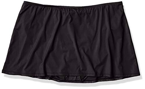 24th & Ocean Women's Skirted Hipster Bikini Swimsuit Bottom, Black//Solid, X-Large