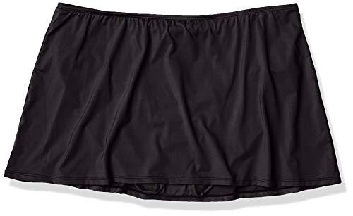 24th & Ocean Women's Skirted Hipster Bikini Swimsuit Bottom, Black//Solid, X-Large