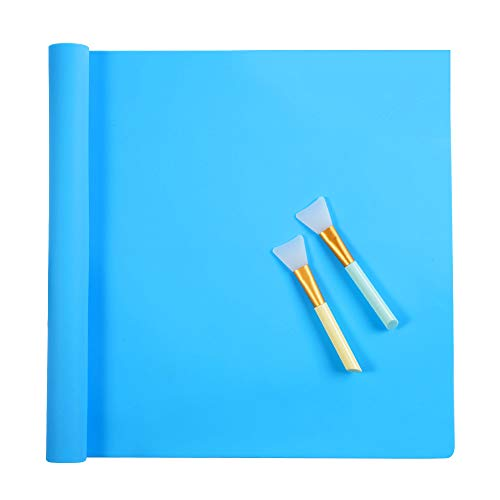 Oversize Silicone Craft mat(23.2 in x 15.6 in), Silicone Mats for Epoxy Resin Jewelry Casting Molds Mat Silicone Placemat (Blue), with 2 PCS Silicone Brushes